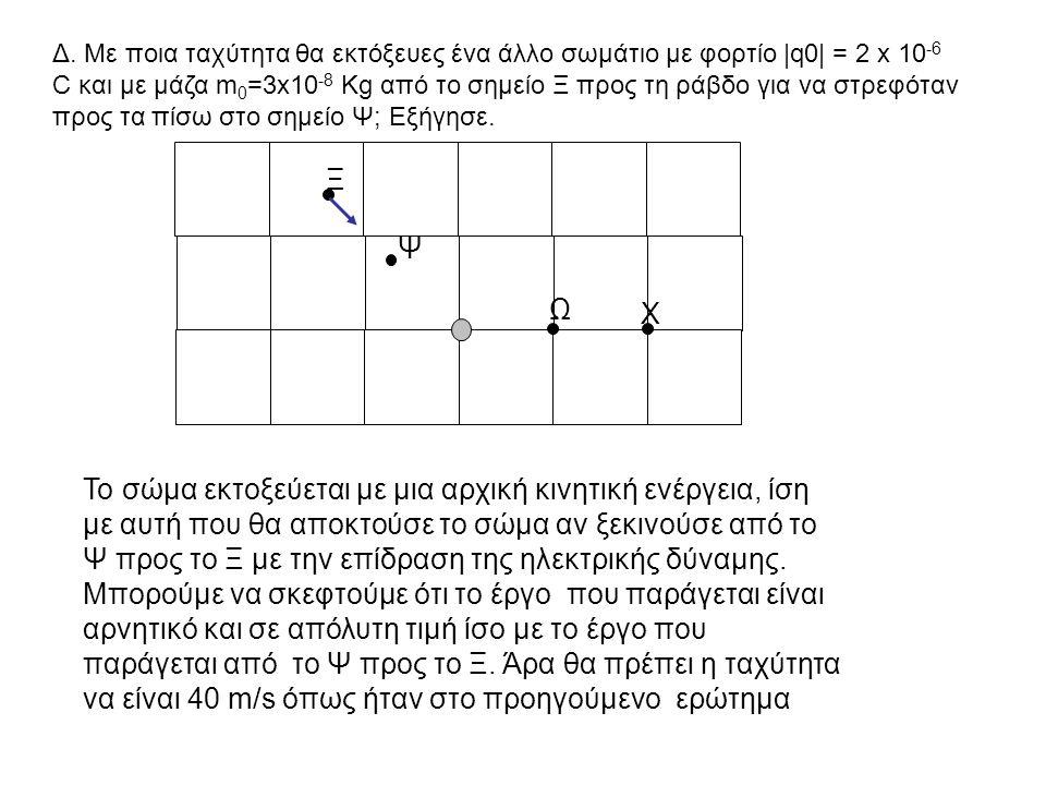 Δ. Με ποια ταχύτητα θα εκτόξευες ένα άλλο σωμάτιο με φορτίο |q0| = 2 x 10-6 C και με μάζα m0=3x10-8 Kg από το σημείο Ξ προς τη ράβδο για να στρεφόταν προς τα πίσω στο σημείο Ψ; Εξήγησε.