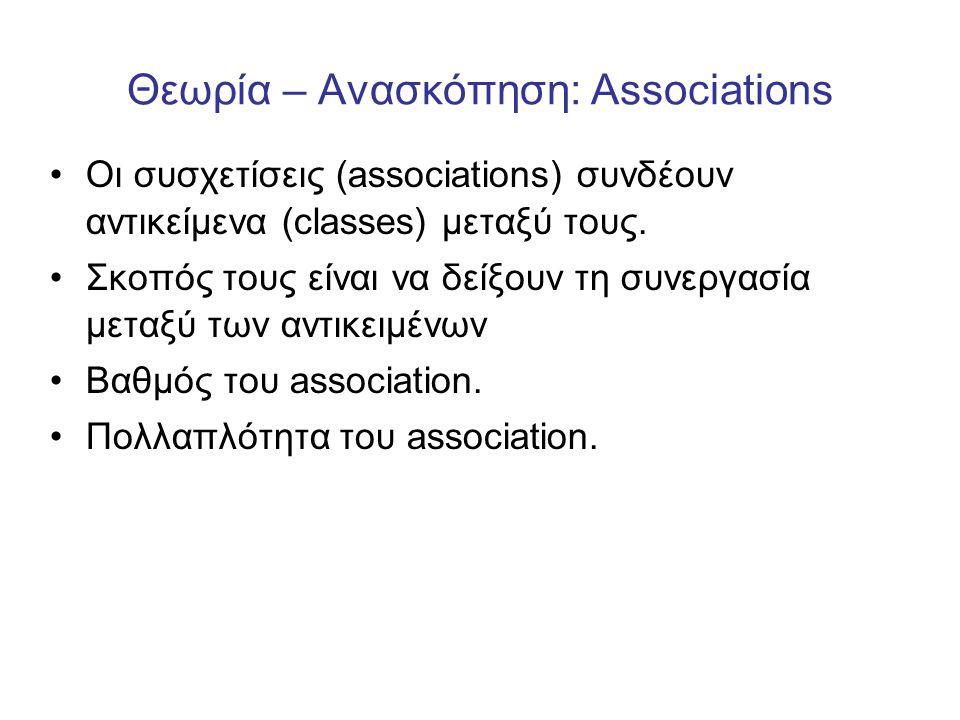 Θεωρία – Ανασκόπηση: Associations