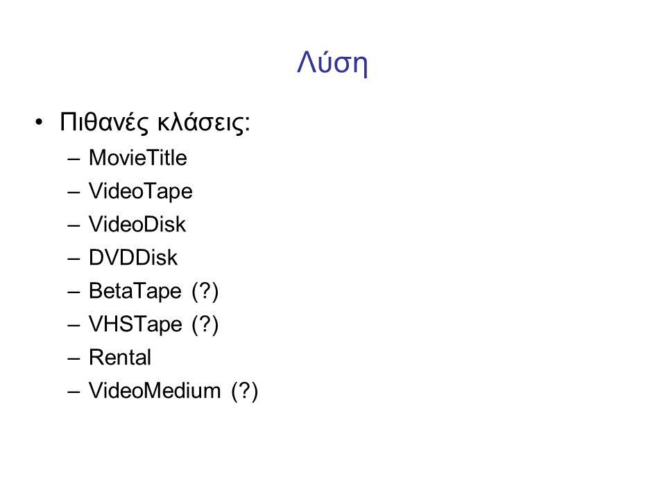 Λύση Πιθανές κλάσεις: MovieTitle VideoTape VideoDisk DVDDisk