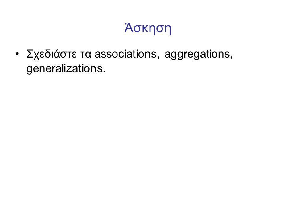 Άσκηση Σχεδιάστε τα associations, aggregations, generalizations.