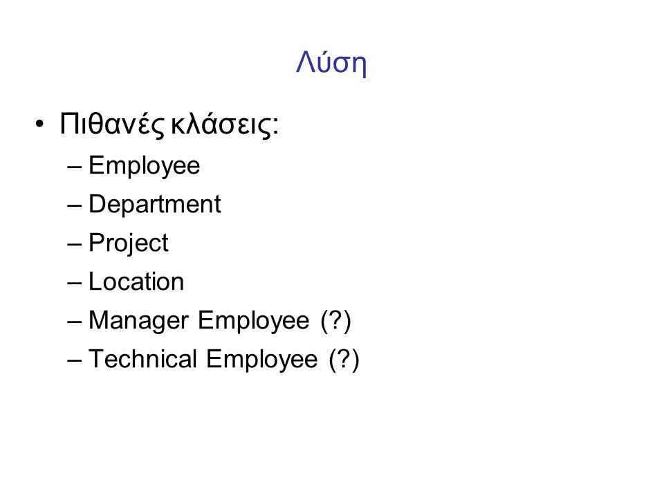 Λύση Πιθανές κλάσεις: Employee Department Project Location