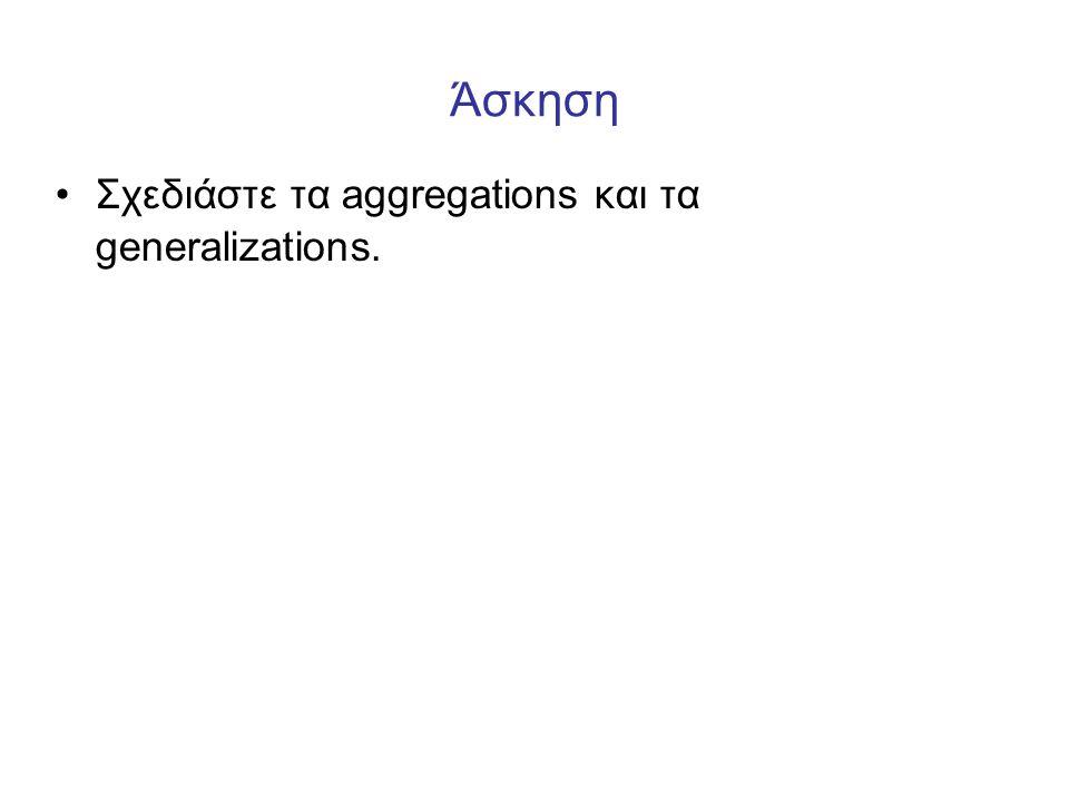 Άσκηση Σχεδιάστε τα aggregations και τα generalizations.