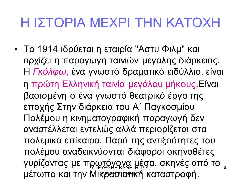 Η ΙΣΤΟΡΙΑ ΜΕΧΡΙ ΤΗΝ ΚΑΤΟΧΗ