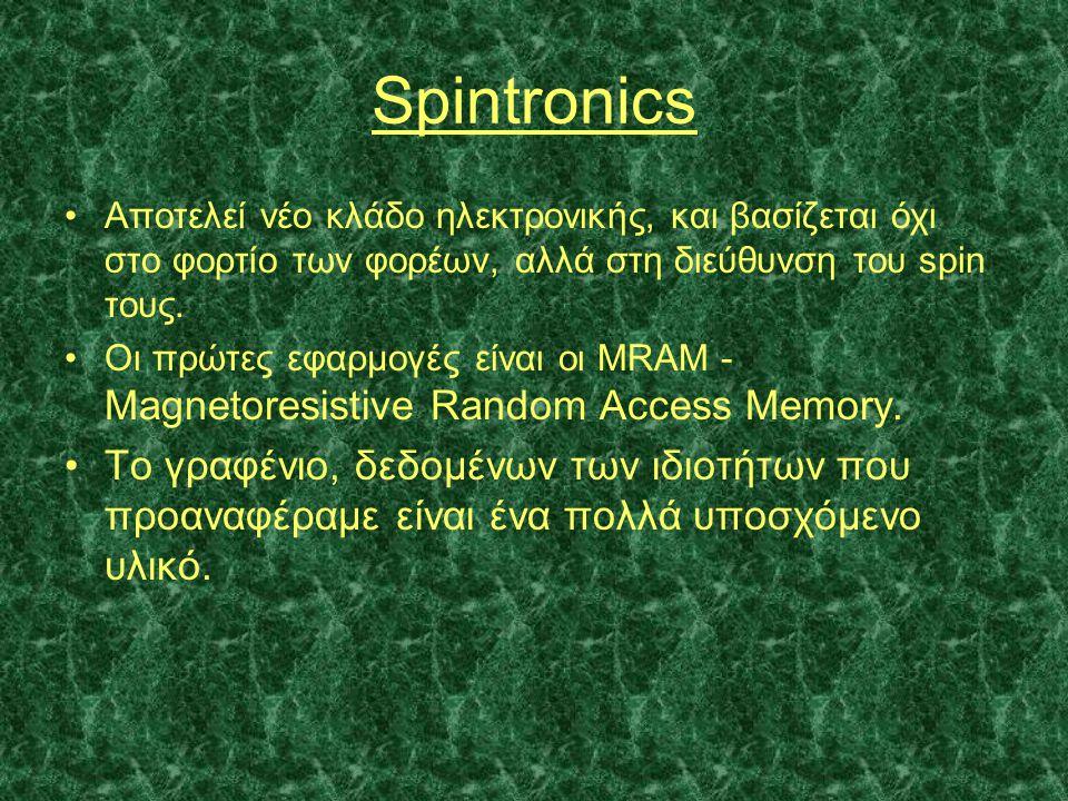 Spintronics Αποτελεί νέο κλάδο ηλεκτρονικής, και βασίζεται όχι στο φορτίο των φορέων, αλλά στη διεύθυνση του spin τους.