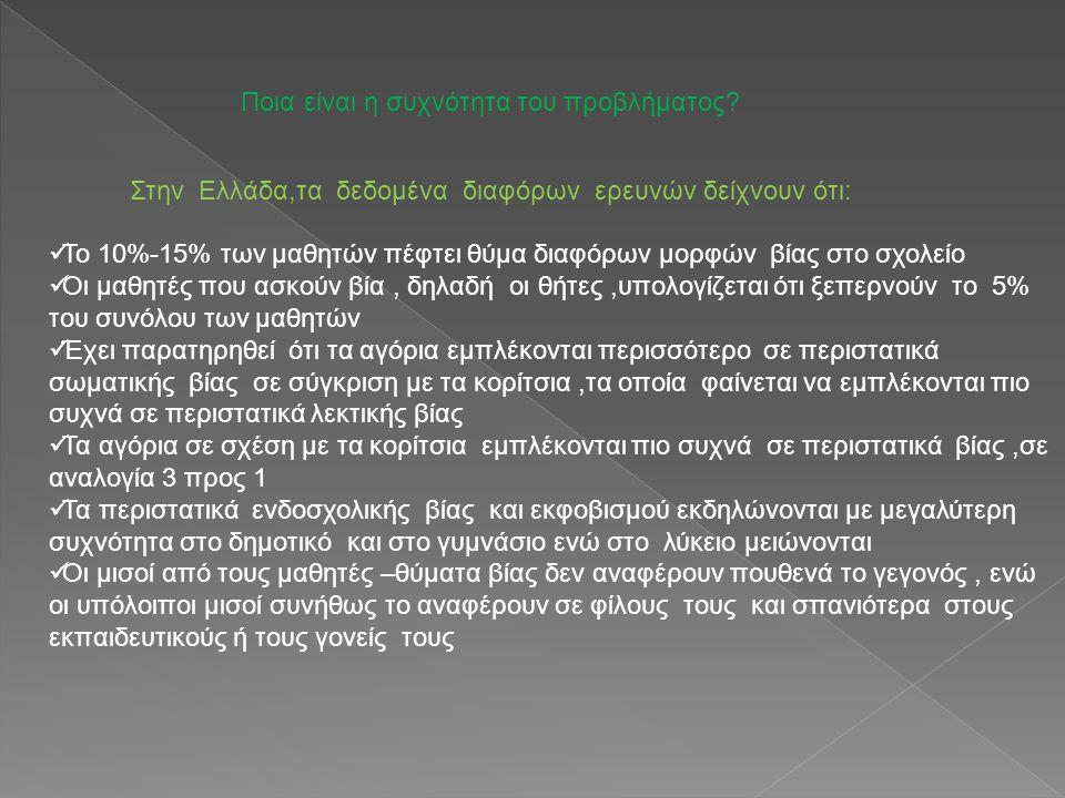 Στην Ελλάδα,τα δεδομένα διαφόρων ερευνών δείχνουν ότι: