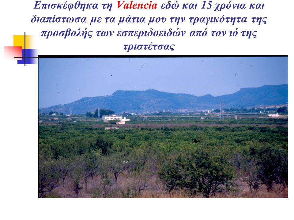 Επισκέφθηκα τη Valencia εδώ και 15 χρόνια και διαπίστωσα με τα μάτια μου την τραγικότητα της προσβολής των εσπεριδοειδών από τον ιό της τριστέτσας