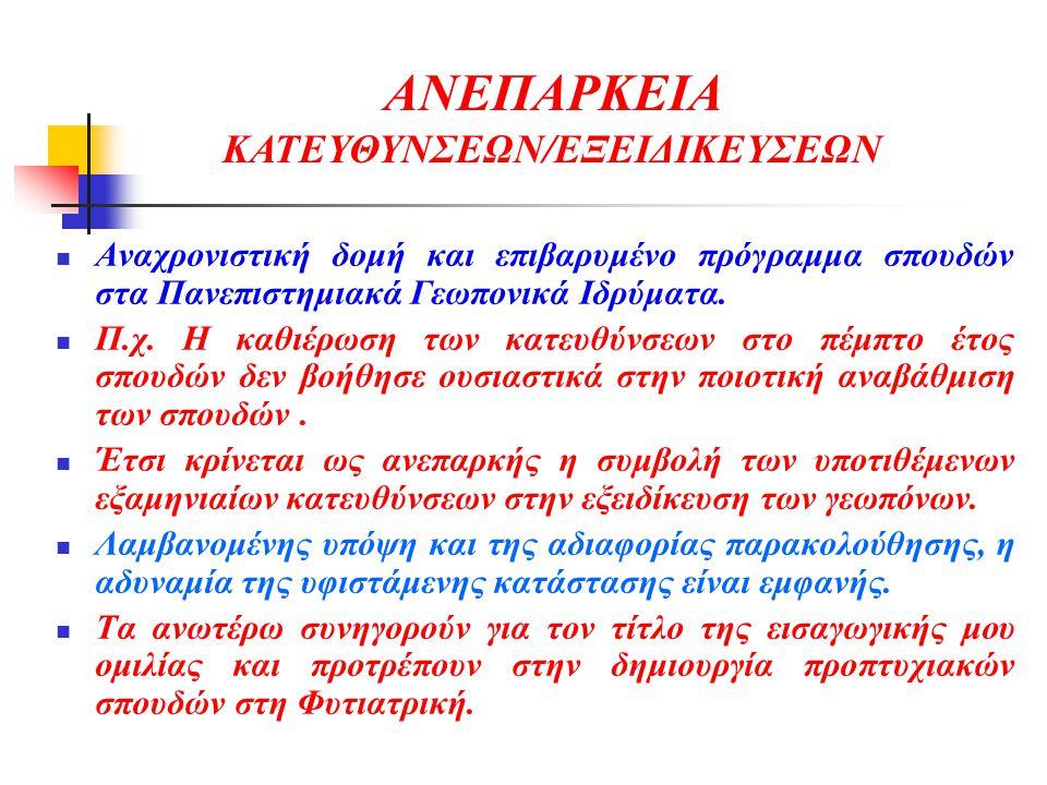 ΑΝΕΠΑΡΚΕΙΑ ΚΑΤΕΥΘΥΝΣΕΩΝ/ΕΞΕΙΔΙΚΕΥΣΕΩΝ