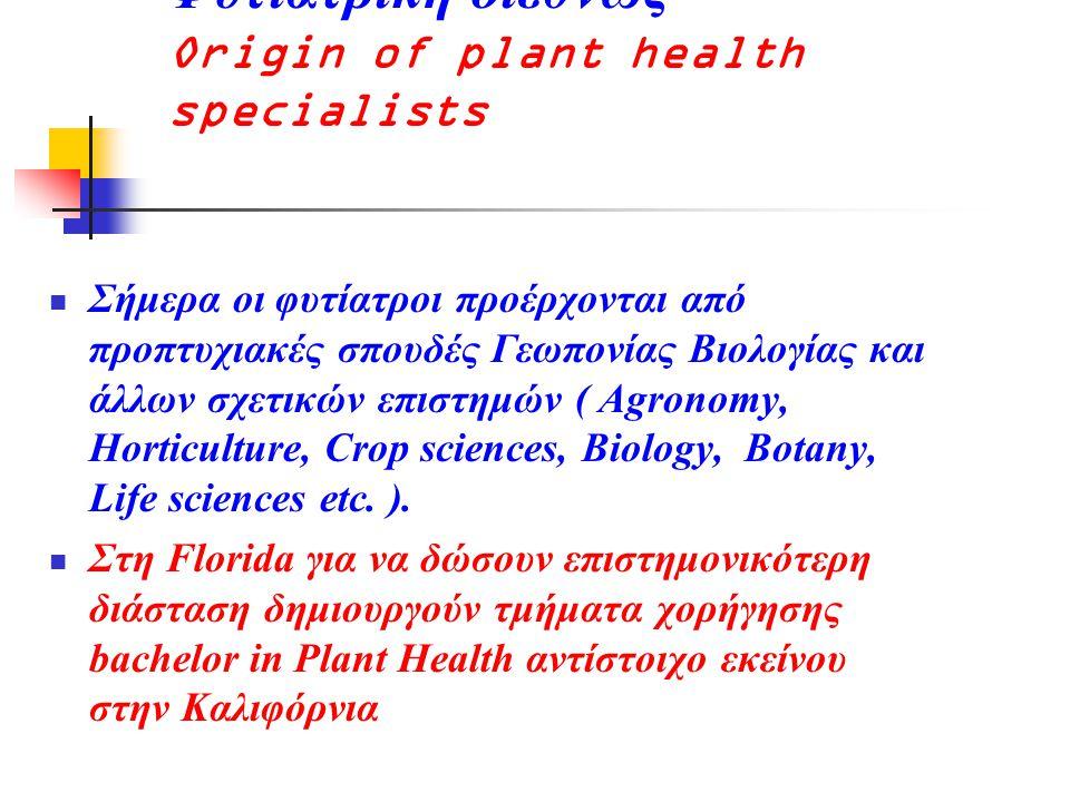 Φυτιατρική διεθνώς Origin of plant health specialists