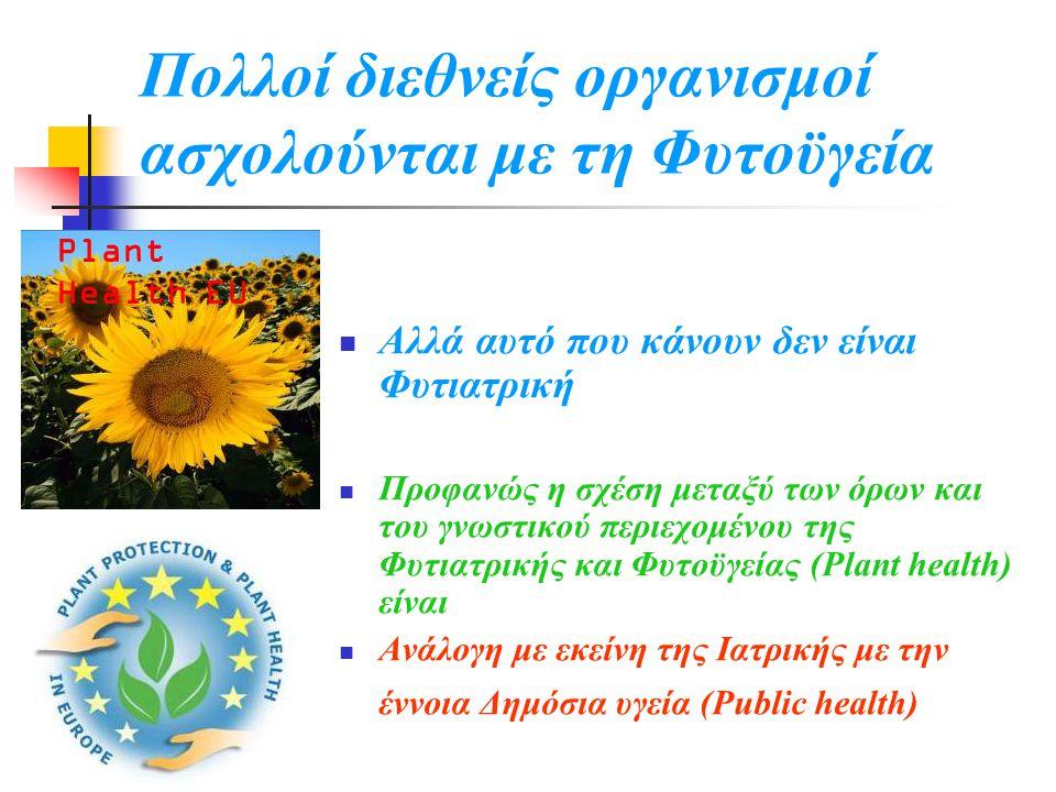 Πολλοί διεθνείς οργανισμοί ασχολούνται με τη Φυτοϋγεία