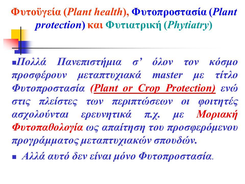 Φυτοϋγεία (Plant health), Φυτοπροστασία (Plant protection) και Φυτιατρική (Phytiatry)