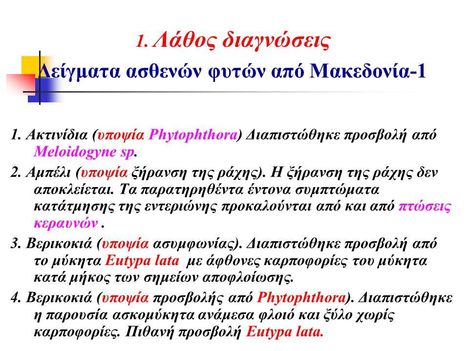 1. Λάθος διαγνώσεις Δείγματα ασθενών φυτών από Μακεδονία-1