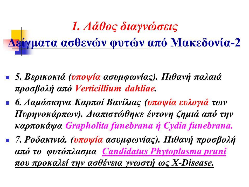 1. Λάθος διαγνώσεις Δείγματα ασθενών φυτών από Μακεδονία-2