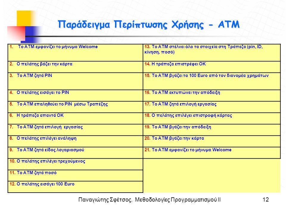 Παράδειγμα Περίπτωσης Χρήσης - ΑΤΜ