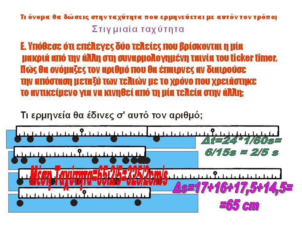 Μέση Ταχύτητα=65:2/5=325/2cm/s