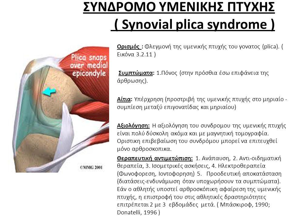ΣΥΝΔΡΟΜΟ ΥΜΕΝΙΚΗΣ ΠΤΥΧΗΣ ( Synovial plica syndrome )