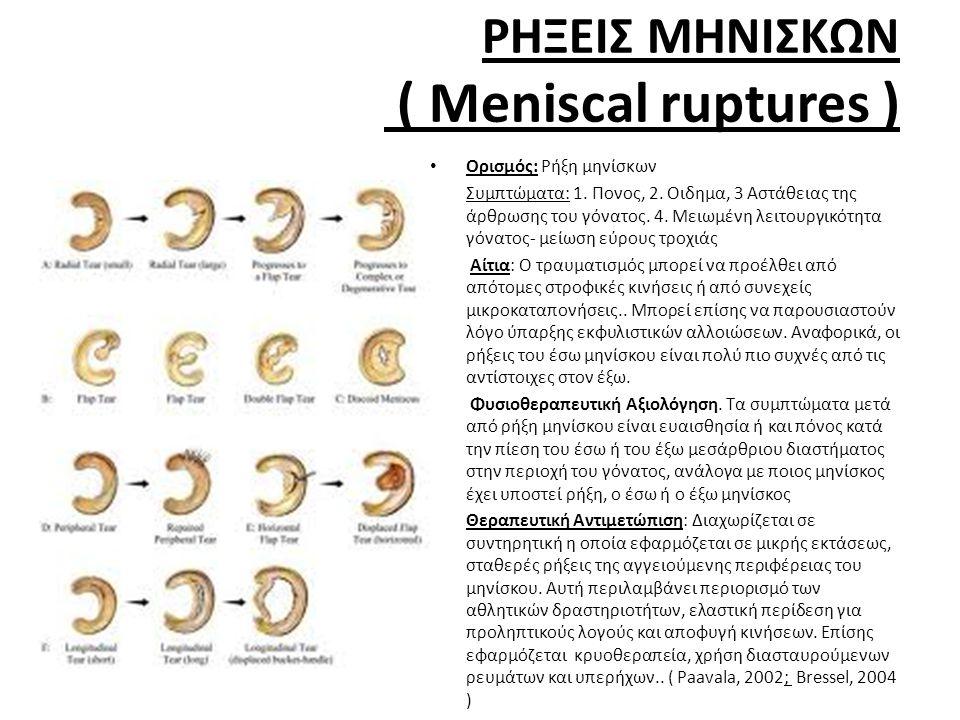ΡΗΞΕΙΣ ΜΗΝΙΣΚΩΝ ( Meniscal ruptures )