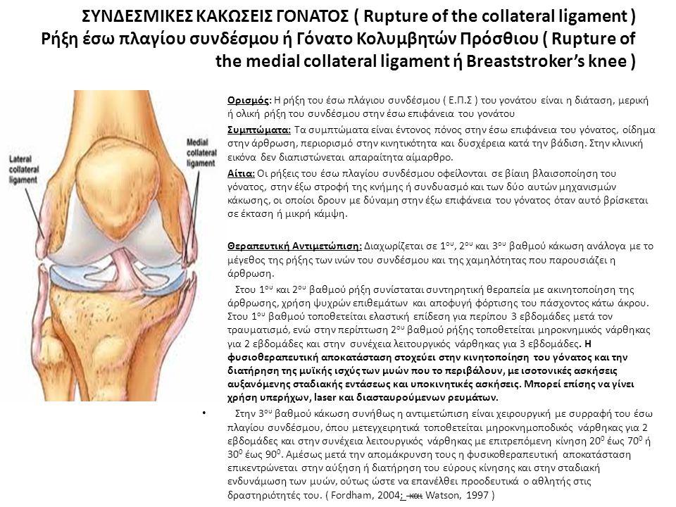ΣΥΝΔΕΣΜΙΚΕΣ ΚΑΚΩΣΕΙΣ ΓΟΝΑΤΟΣ ( Rupture of the collateral ligament ) Ρήξη έσω πλαγίου συνδέσμου ή Γόνατο Κολυμβητών Πρόσθιου ( Rupture of the medial collateral ligament ή Breaststroker's knee )