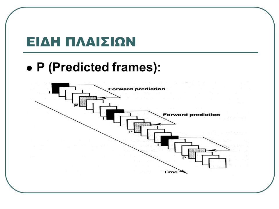 ΕΙΔΗ ΠΛΑΙΣΙΩΝ P (Predicted frames):