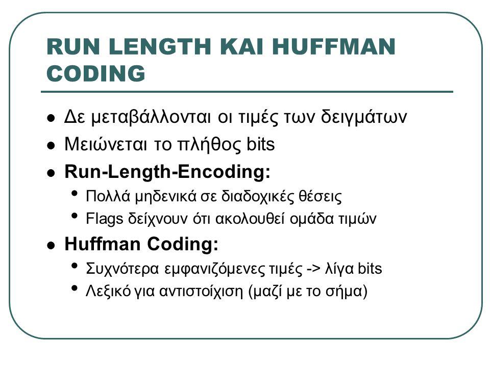 RUN LENGTH ΚΑΙ HUFFMAN CODING