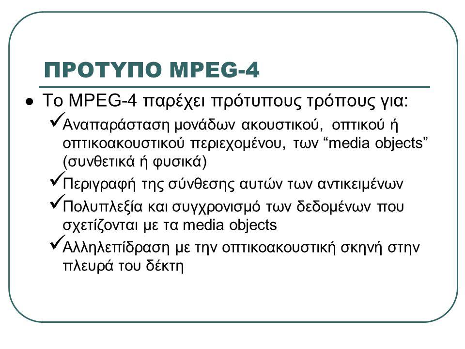 ΠΡΟΤΥΠΟ MPEG-4 Το MPEG-4 παρέχει πρότυπους τρόπους για: