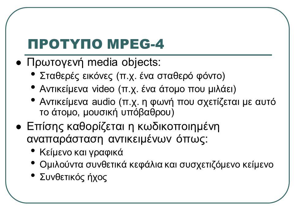 ΠΡΟΤΥΠΟ MPEG-4 Πρωτογενή media objects: