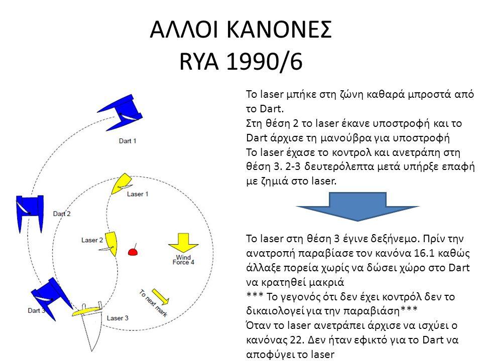 ΑΛΛΟΙ ΚΑΝΟΝΕΣ RYA 1990/6 To laser μπήκε στη ζώνη καθαρά μπροστά από το Dart.