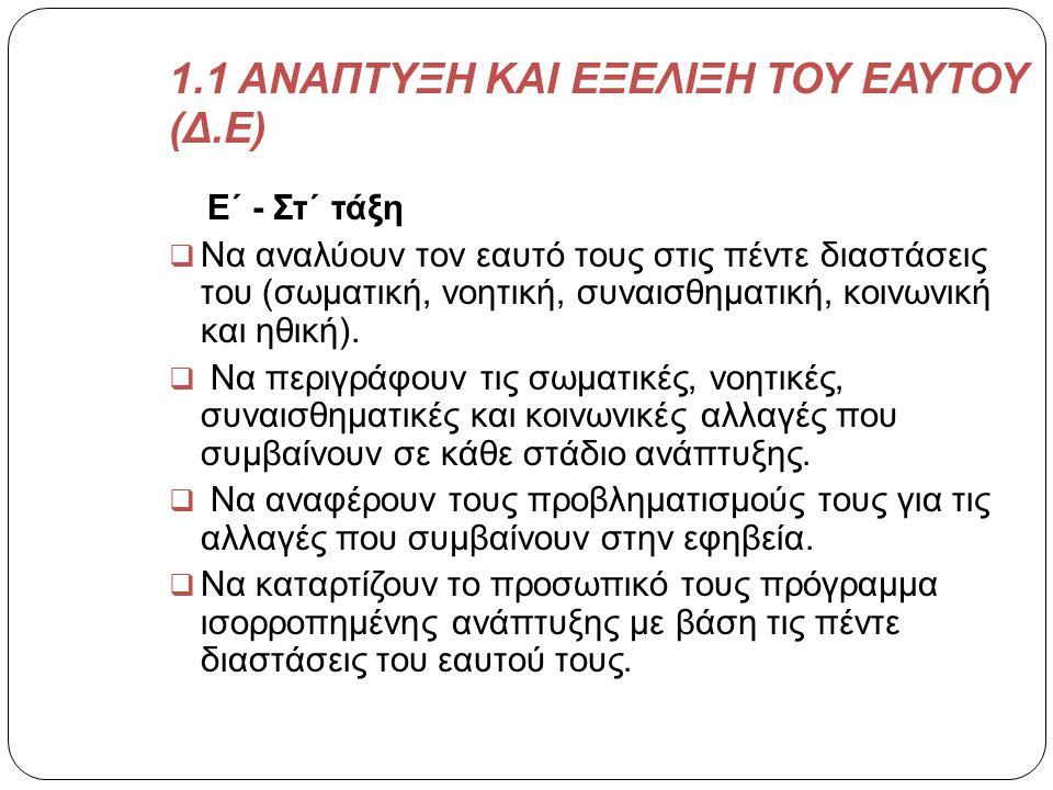 1.1 ΑΝΑΠΤΥΞΗ ΚΑΙ ΕΞΕΛΙΞΗ ΤΟΥ ΕΑΥΤΟΥ (Δ.Ε)