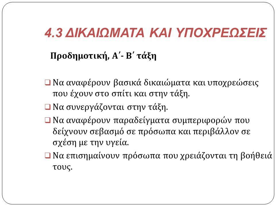 4.3 ΔΙΚΑΙΩΜΑΤΑ ΚΑΙ ΥΠΟΧΡΕΩΣΕΙΣ
