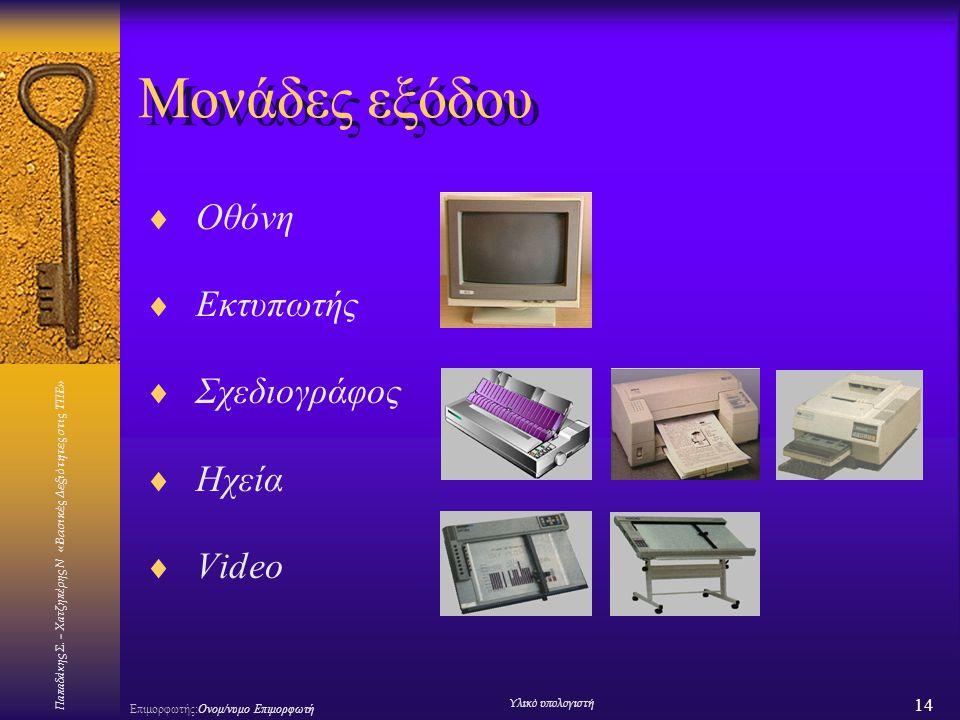 Μονάδες εξόδου Οθόνη Εκτυπωτής Σχεδιογράφος Ηχεία Video