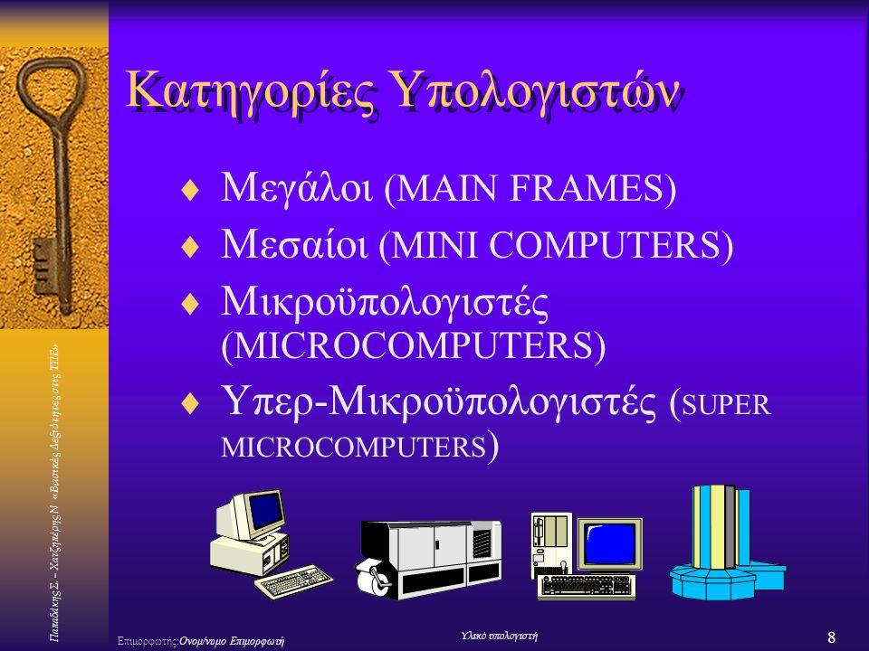 Κατηγορίες Υπολογιστών