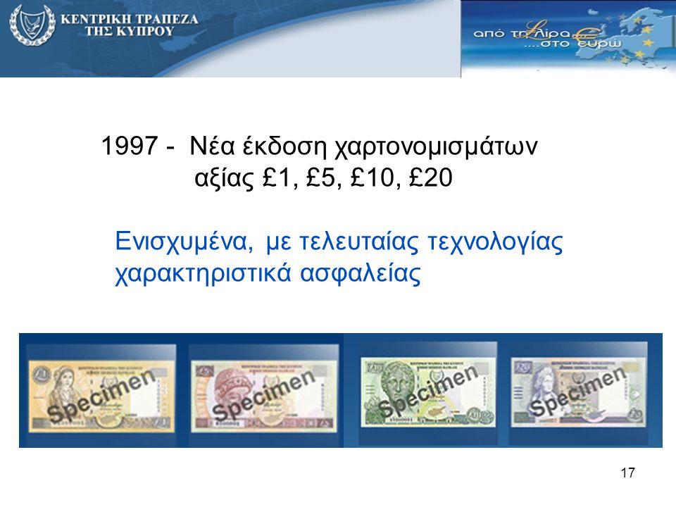 1997 - Νέα έκδοση χαρτονομισμάτων