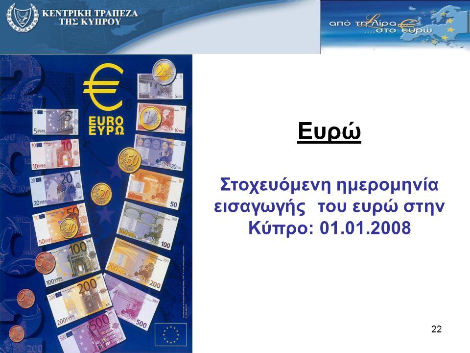 Στοχευόμενη ημερομηνία εισαγωγής του ευρώ στην