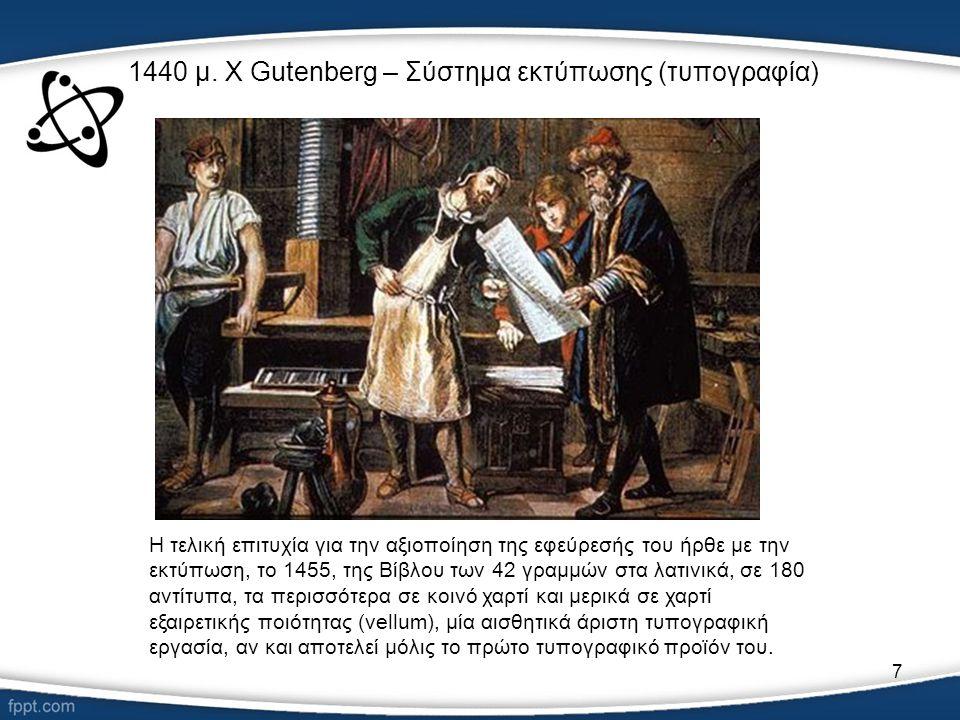 1440 μ. Χ Gutenberg – Σύστημα εκτύπωσης (τυπογραφία)
