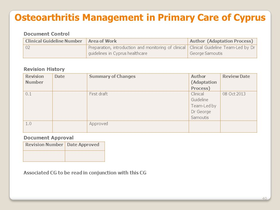 Osteoarthritis Management in Primary Care of Cyprus