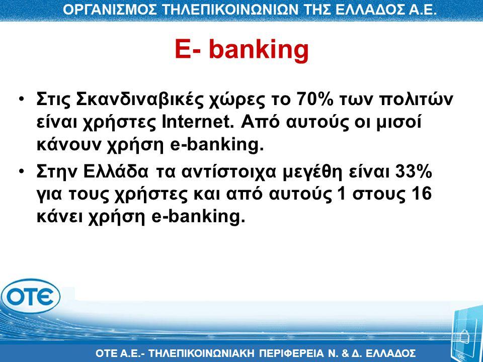 E- banking Στις Σκανδιναβικές χώρες το 70% των πολιτών είναι χρήστες Internet. Από αυτούς οι μισοί κάνουν χρήση e-banking.
