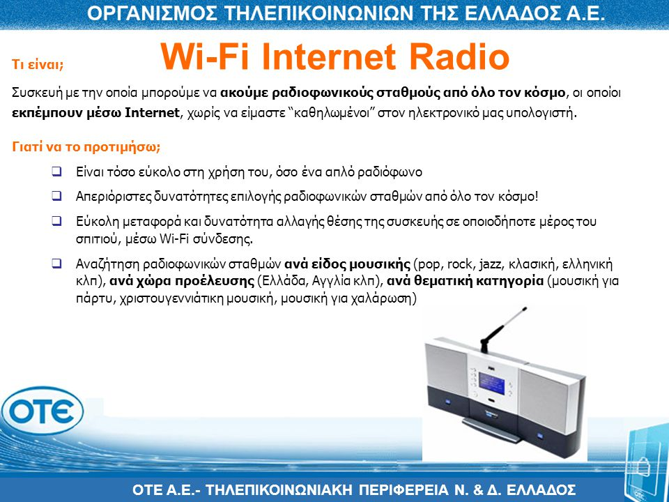 Wi-Fi Internet Radio Τι είναι;