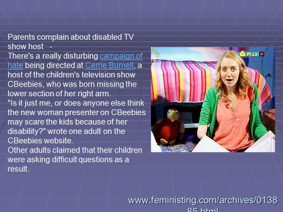 Parents complain about disabled TV show host -