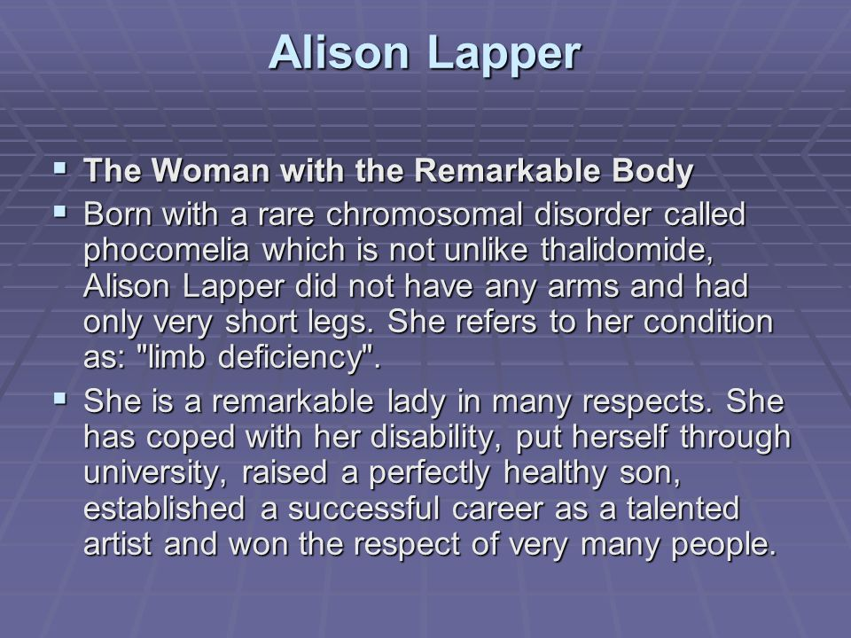 Αlison Lapper The Woman with the Remarkable Body