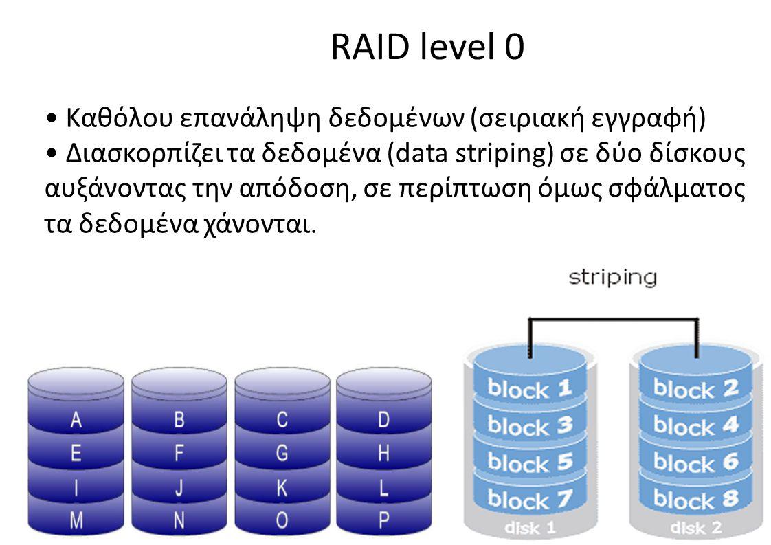 RAID level 0 • Καθόλου επανάληψη δεδομένων (σειριακή εγγραφή)