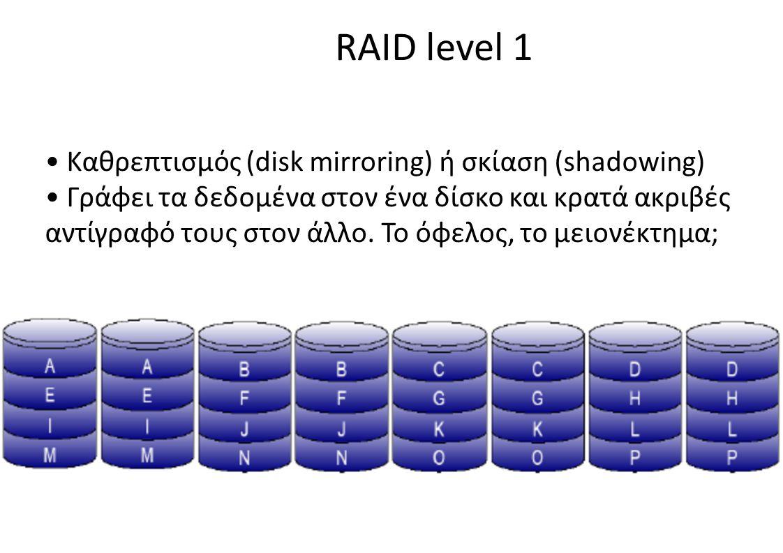 RAID level 1 • Καθρεπτισμός (disk mirroring) ή σκίαση (shadowing)