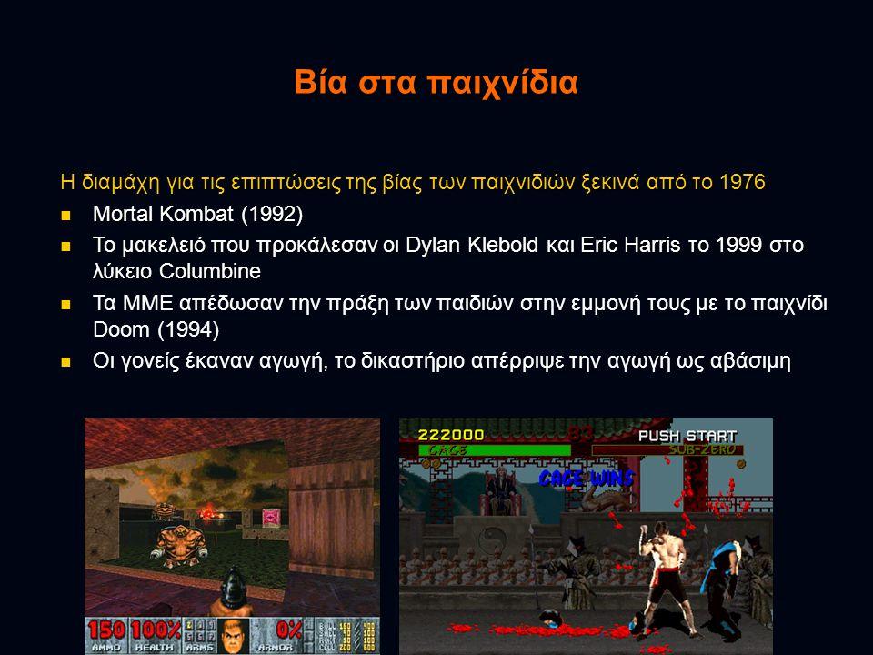 Βία στα παιχνίδια Η διαμάχη για τις επιπτώσεις της βίας των παιχνιδιών ξεκινά από το 1976. Mortal Kombat (1992)