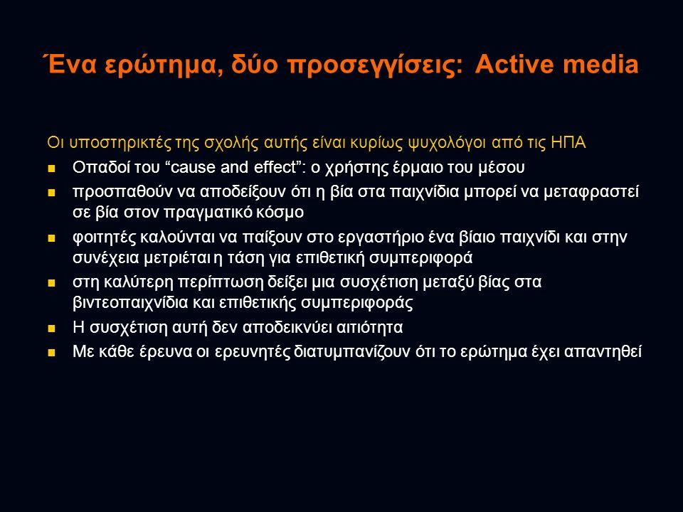 Ένα ερώτημα, δύο προσεγγίσεις: Active media