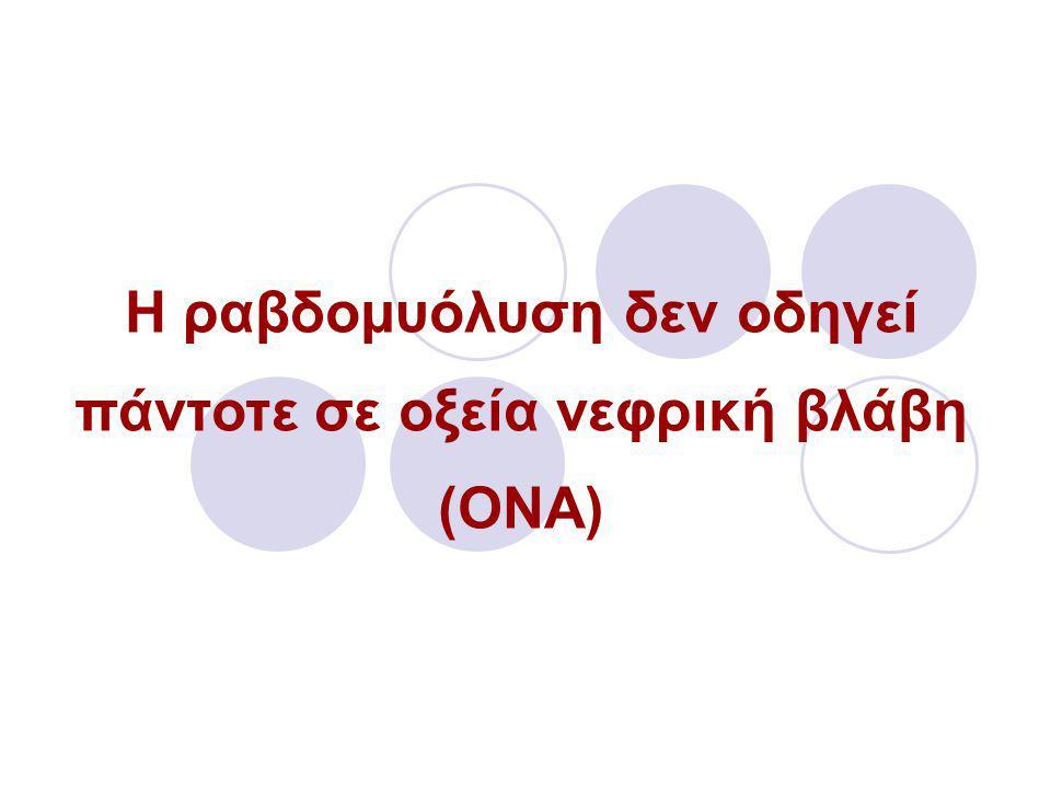 Η ραβδομυόλυση δεν οδηγεί πάντοτε σε οξεία νεφρική βλάβη (ΟΝΑ)