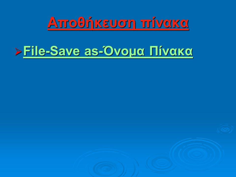 Αποθήκευση πίνακα File-Save as-Όνομα Πίνακα