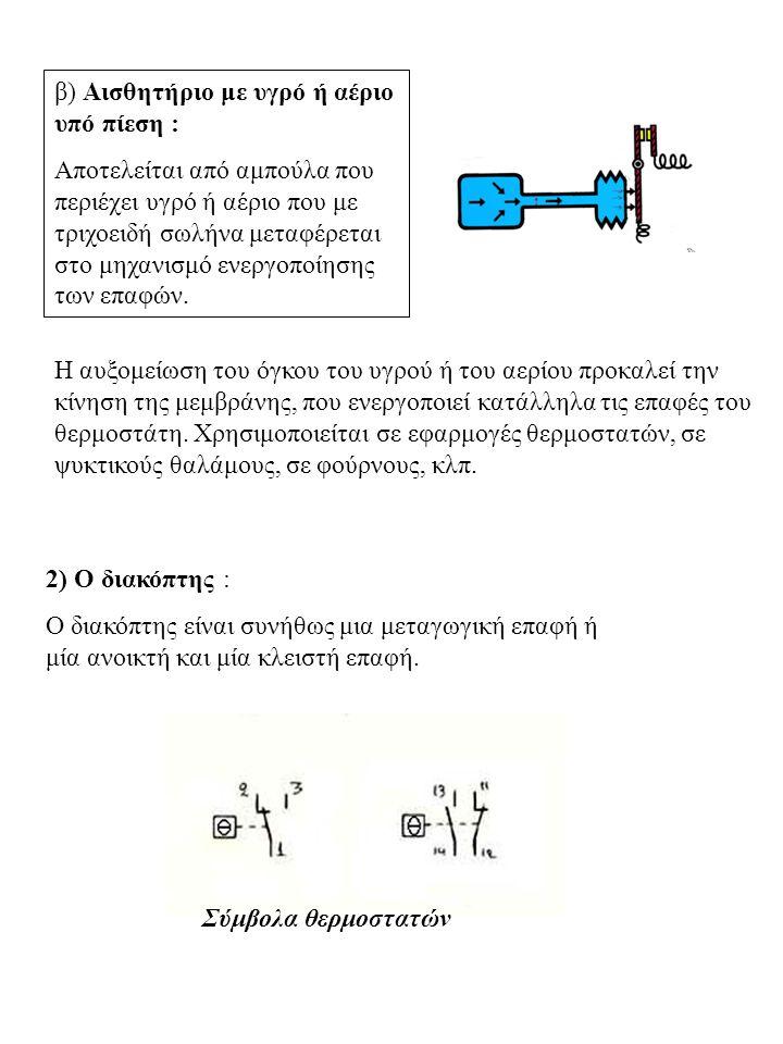 β) Αισθητήριο με υγρό ή αέριο υπό πίεση :