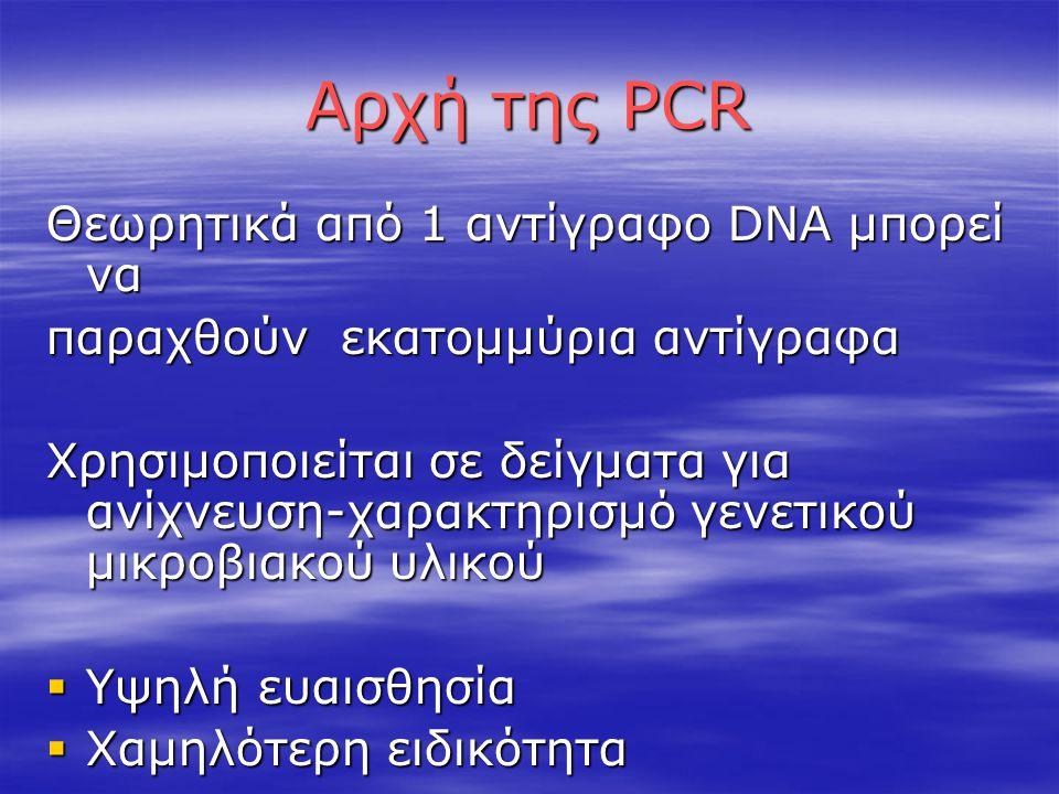 Αρχή της PCR Θεωρητικά από 1 αντίγραφο DNA μπορεί να