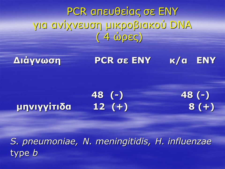 PCR απευθείας σε ΕΝΥ για ανίχνευση μικροβιακού DNA ( 4 ώρες)