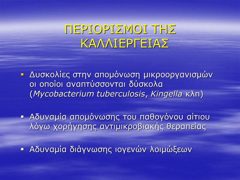 ΠΕΡΙΟΡΙΣΜΟΙ ΤΗΣ ΚΑΛΛΙΕΡΓΕΙΑΣ