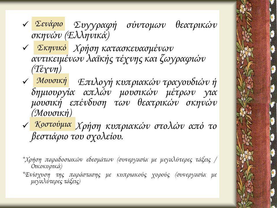 Συγγραφή σύντομων θεατρικών σκηνών (Ελληνικά)