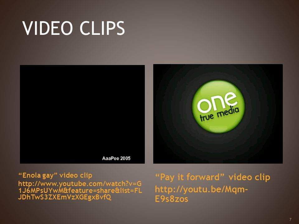 VIDEO CLIPS Pay it forward video clip http://youtu.be/Mqm-E9s8zos